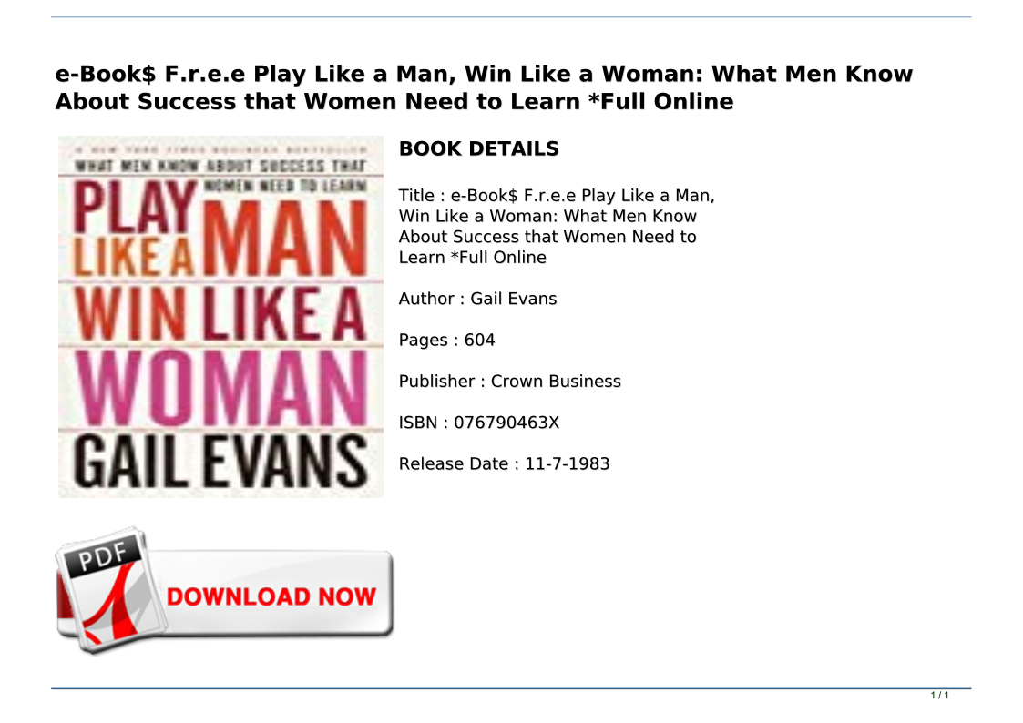 Win Like a Woman Play Like a Man What Men Know About Success that Women Need to Learn