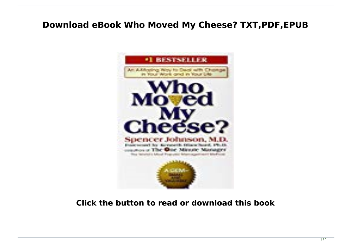 Download Ebook Who Moved My Cheese Txt Pdf Epub Text Images Music Video Glogster Edu Interactive Multimedia Posters